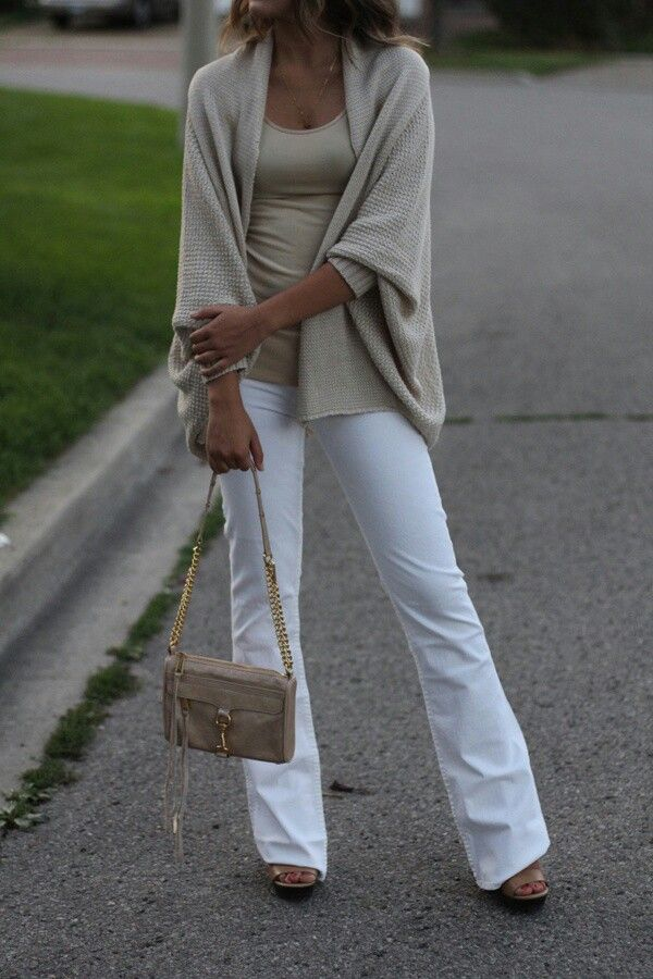 10 White Boot Cut Denim With Heels And Tan Camel Tank Top Sweater Style Wrap For Fall Winter Go A Close Toe Shoe