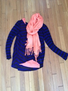 Blue and black stripe with bright orange