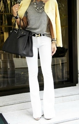7 White palazzo pants with a grey shirt, bold yellow pea coat and ...
