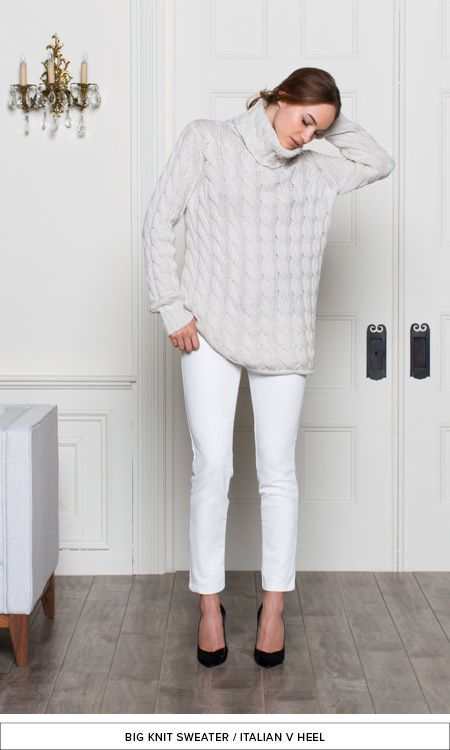 9 White ankle pants with heels and a large cozy sweater for fall ...