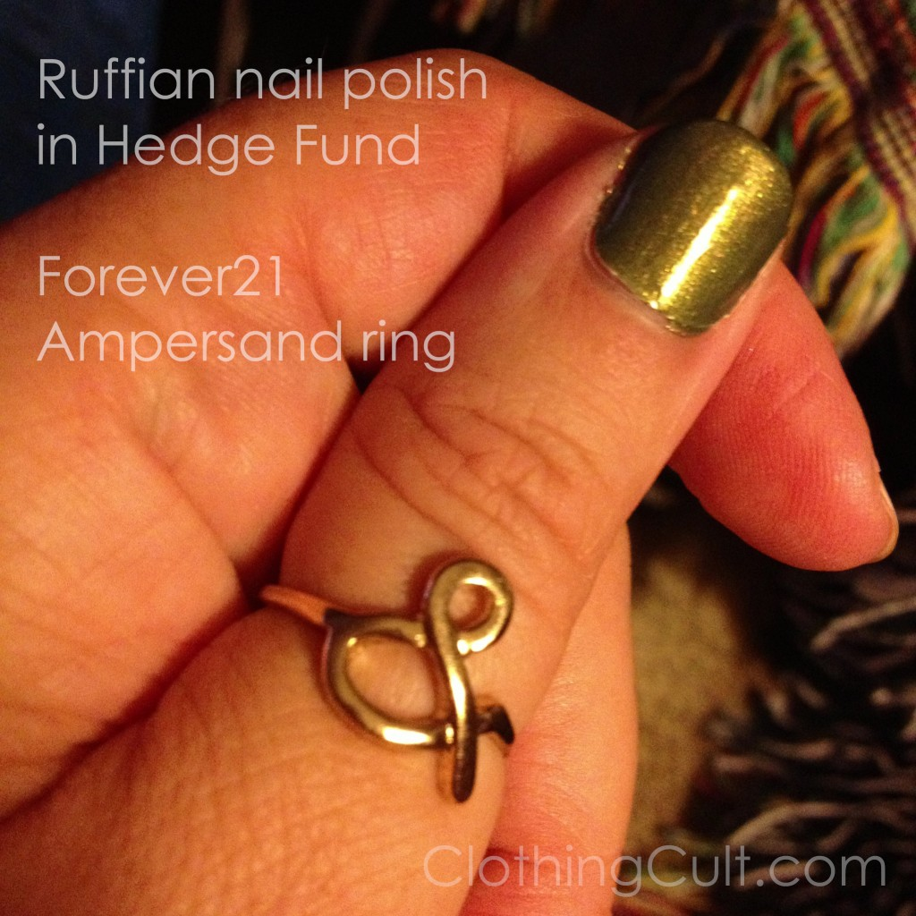 Ampersand ring from Forever21 & Ruffian nail polish in Hedge Fund green