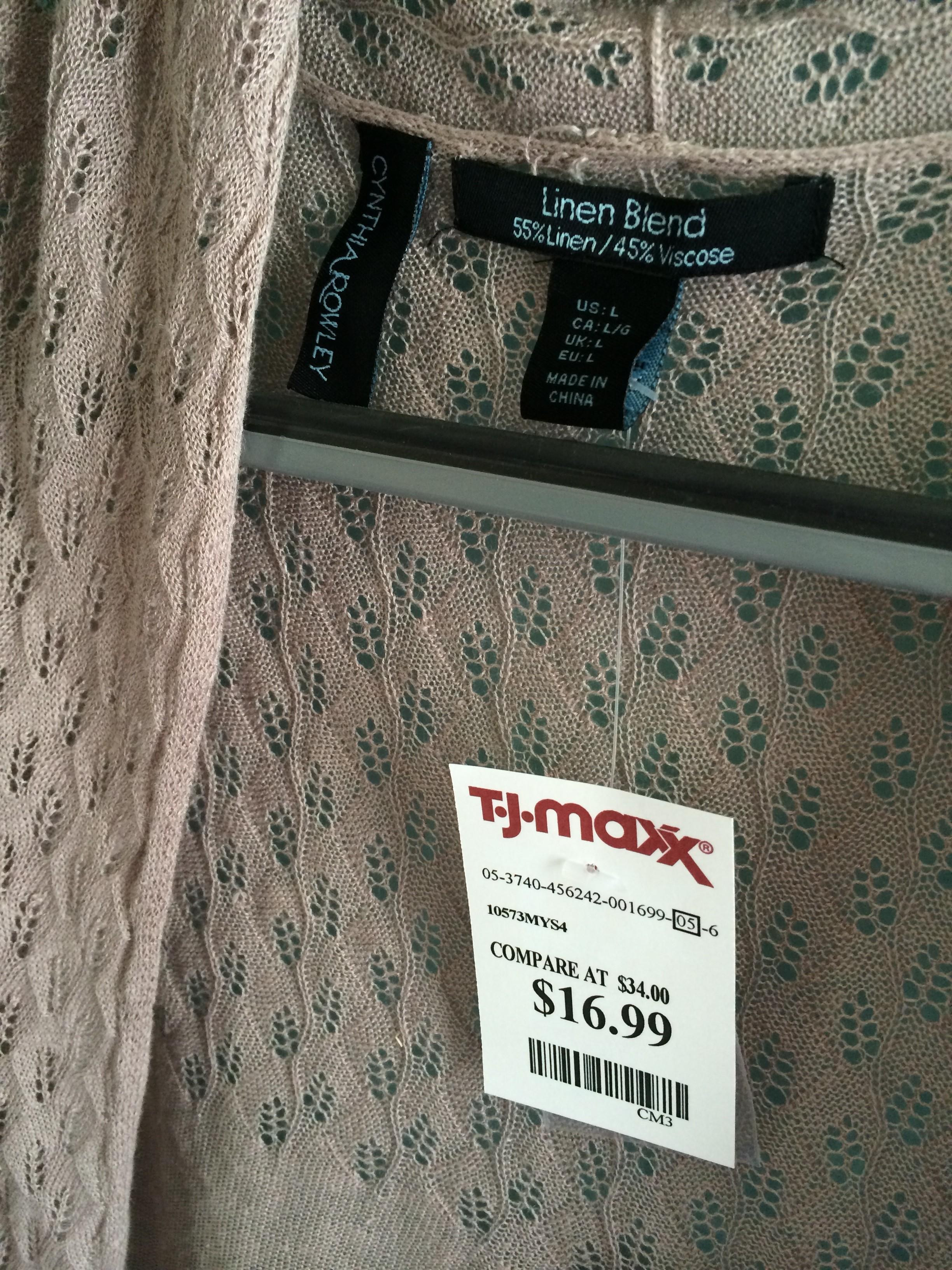 Cynthia rowley linen blend crochet detail cardi price tag for Tj maxx jewelry box