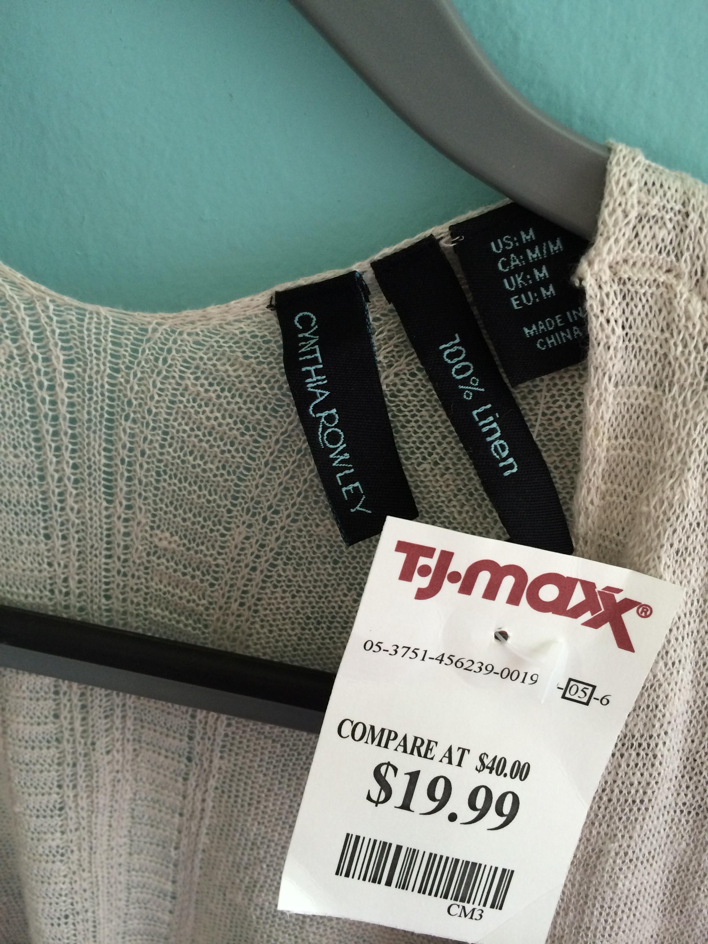 Cynthia rowley linen blend neutral cardi price tag via for Tj maxx jewelry box