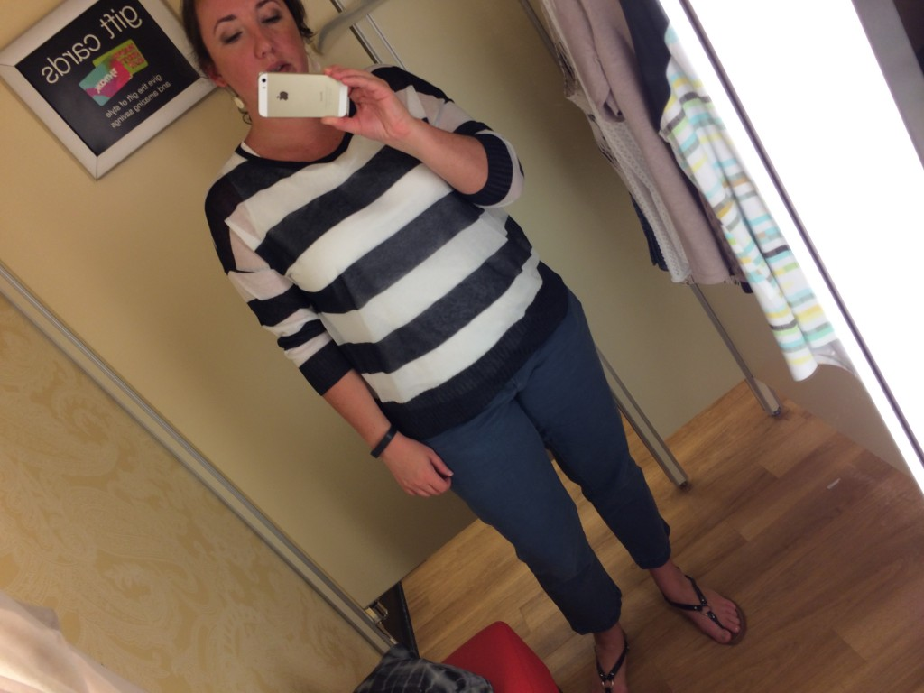 Navy and white striped linen blend Ellen Tracy sweater with 3/4 length sleeves. Great for layering over tanks.