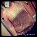 Talbot's tan gold sequin tank top