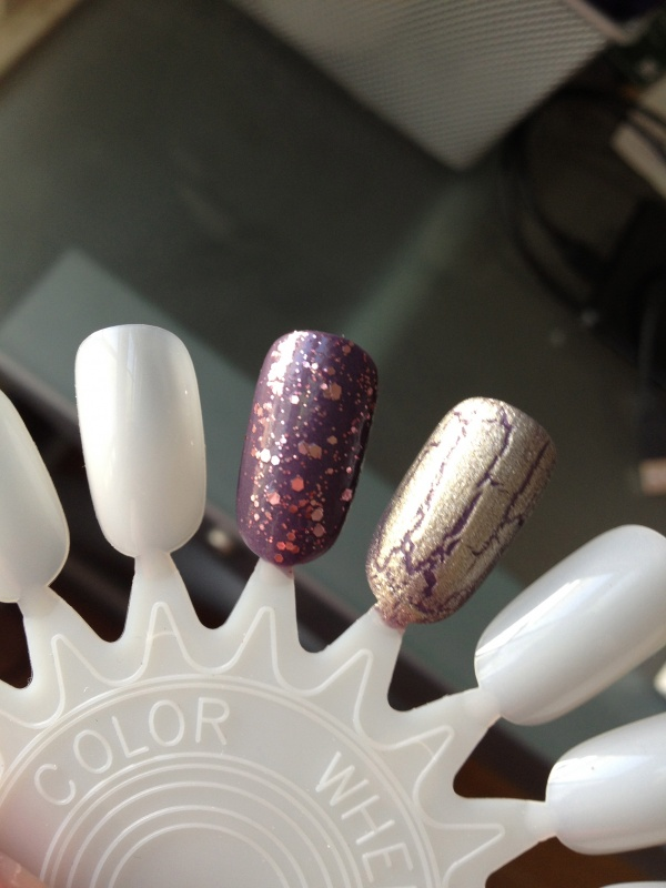 """Zoya """"Lotus"""" with Essie """"A Cut Above"""" and Sally Hansen Crackle polish in """"Antique Gold"""""""