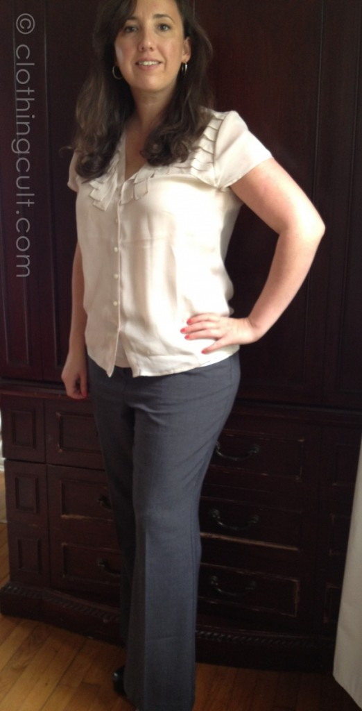 Dusty rose silk Talbots top, Chico's gray slack, business outfit