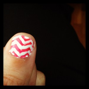 Neon and chevron nail polish