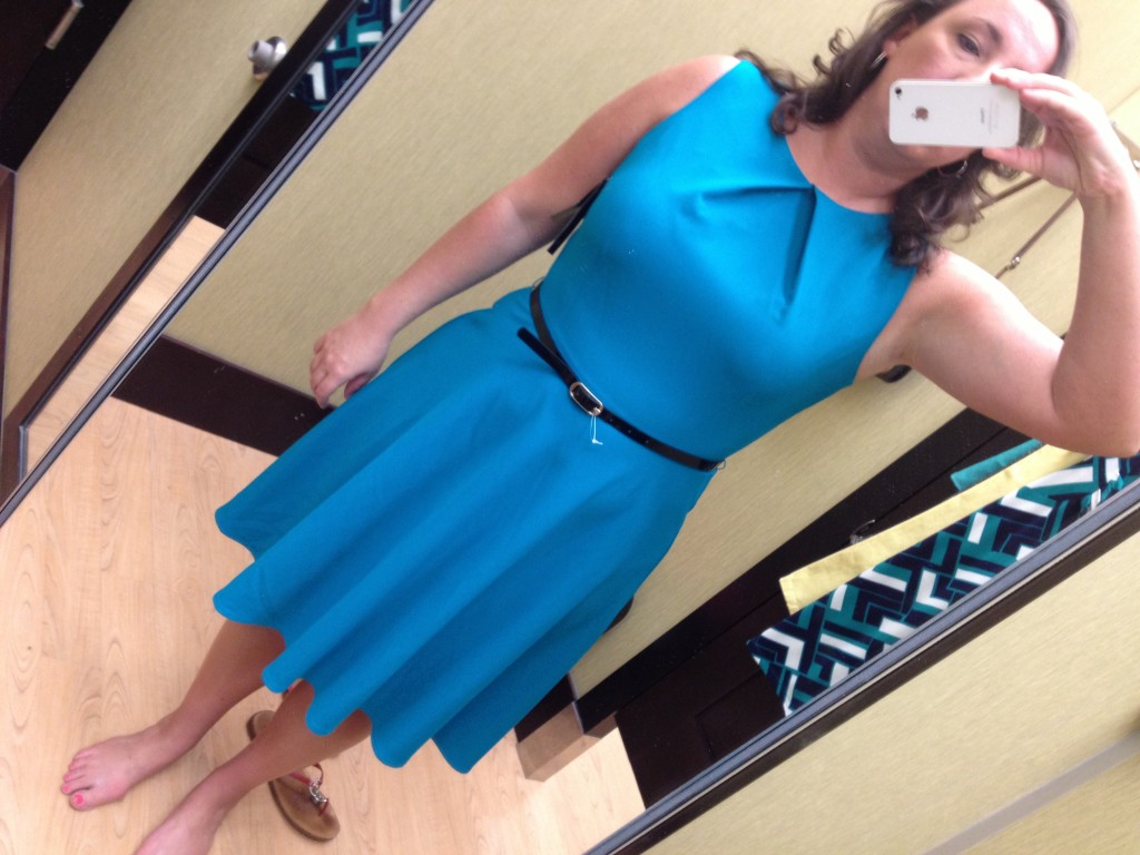 Ab Studio Pleated Fit Flare Dress In Teal Clothingcult Com