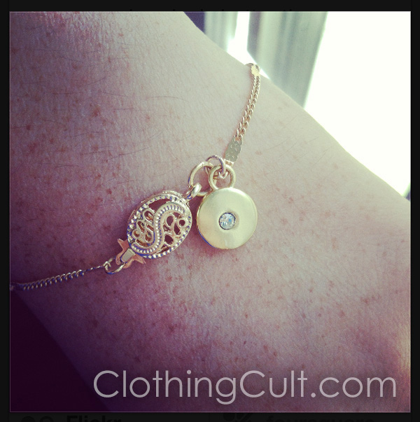 Lauren Conrad necklace chain meets Chaps earring charm - made into a bracelet