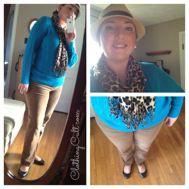 OOTD – turquoise, leopard and corduroy