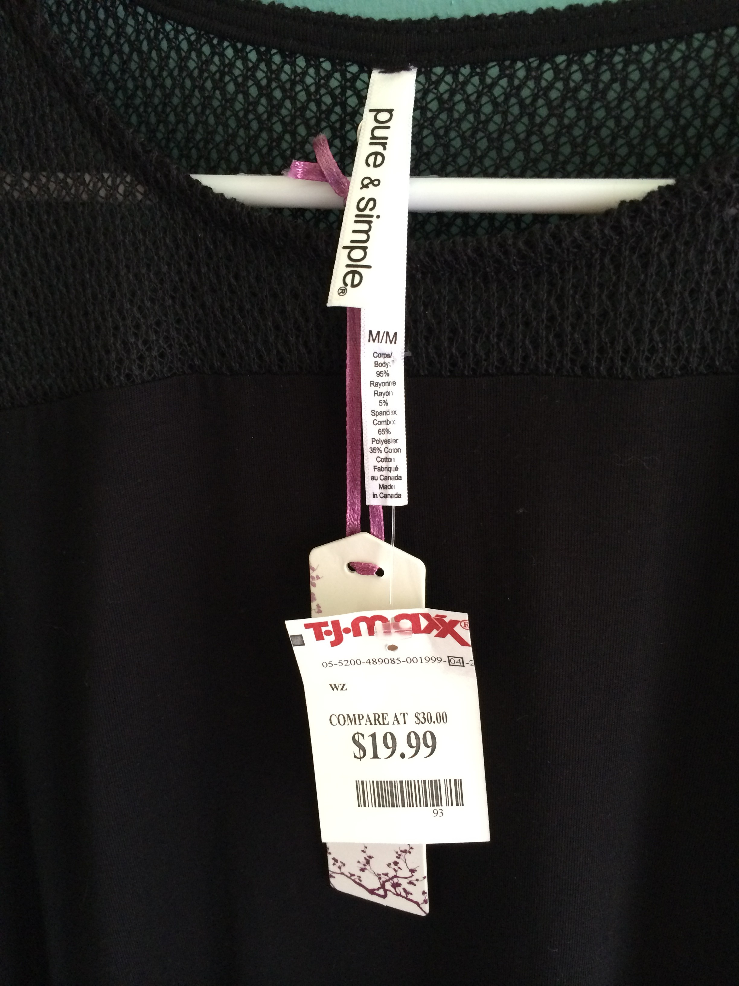 Pure and simple rayon blend black tank price tag via for Tj maxx jewelry box