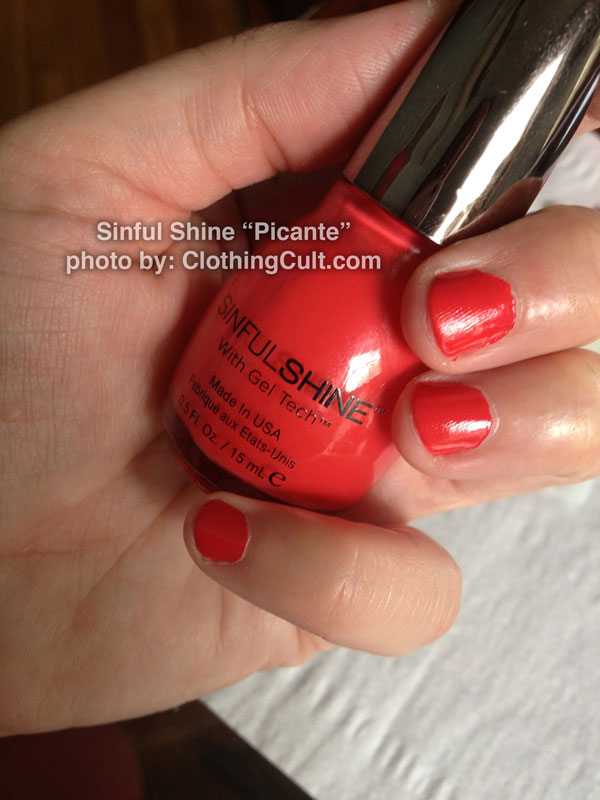 SinfulShine Picante swatch from SinfulColors & comparison