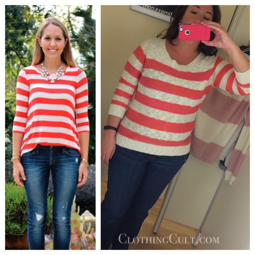 Tj maxx pink rose striped sweater for Tj maxx t shirts