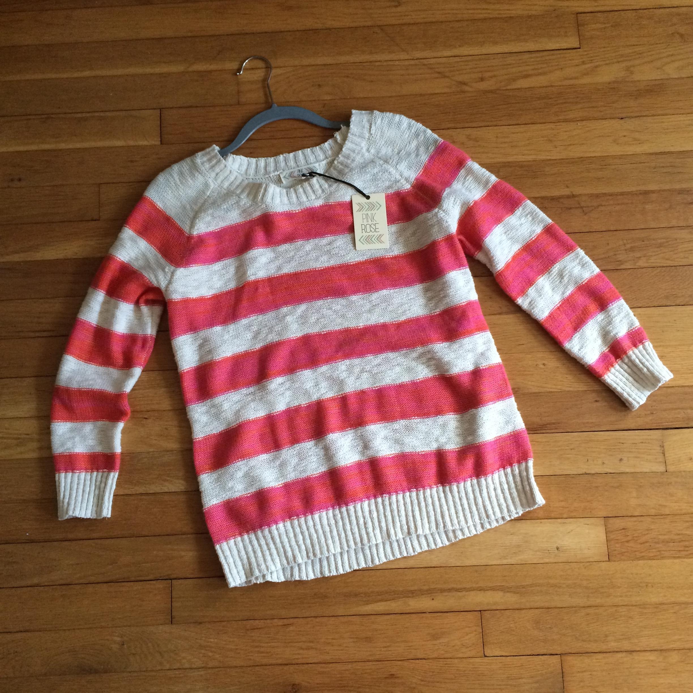 Tj maxx pink rose striped sweater by itself for Tj maxx jewelry box