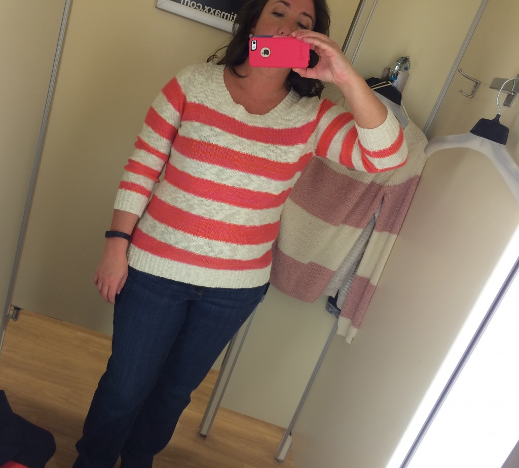 TJ Maxx Pink Rose striped sweater just me  • ClothingCult.com