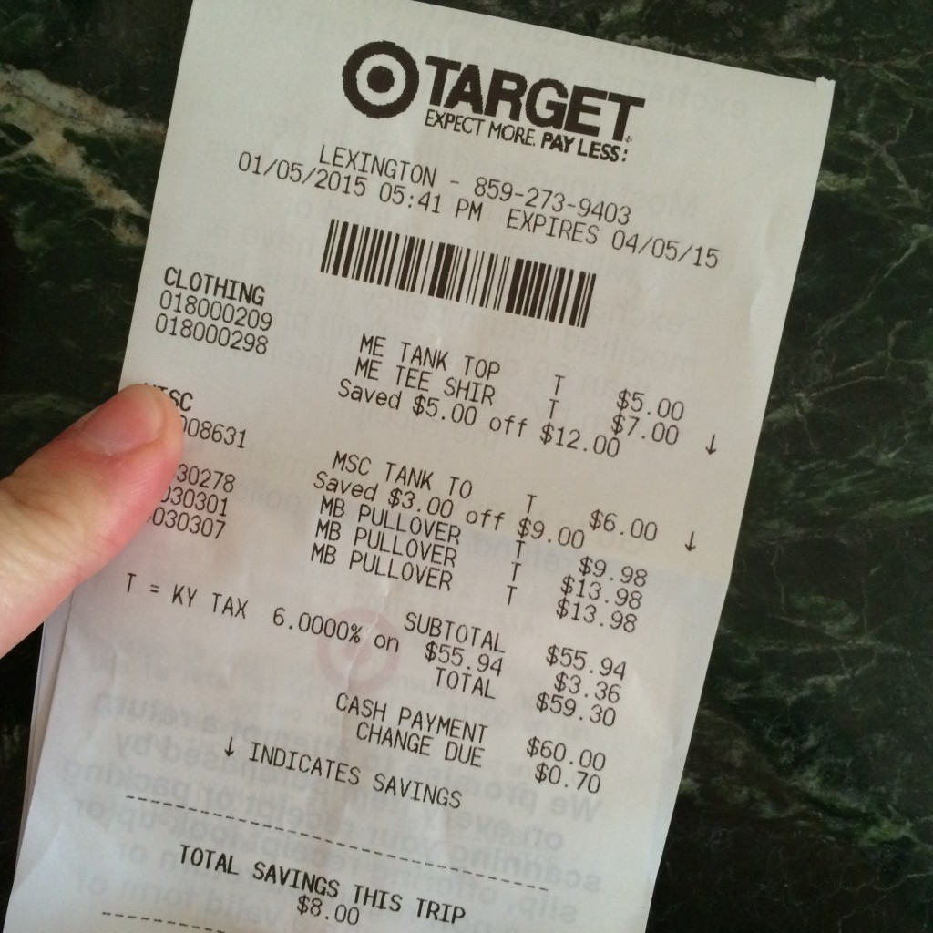 Target receipt Jan 5 2015 • ClothingCult.com