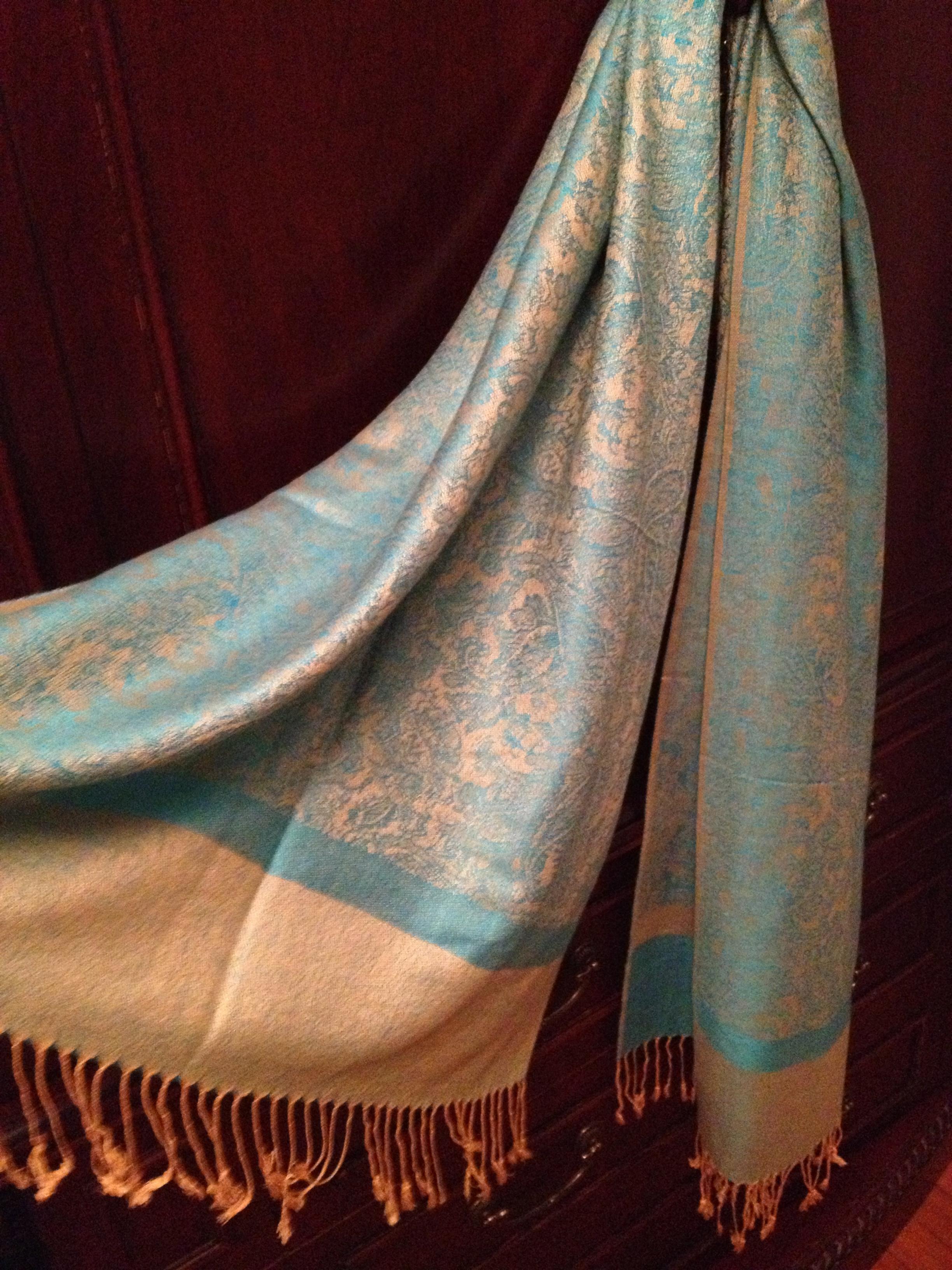 turquoise gold silk feel paisley pashmina shawl wrap stole 30 beautiful paisley