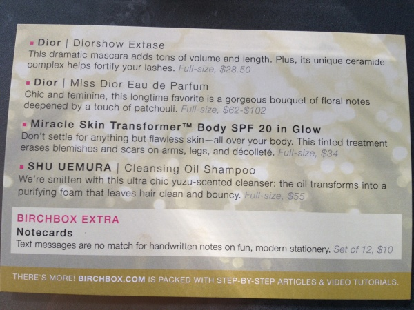 birchbox card back May 2012