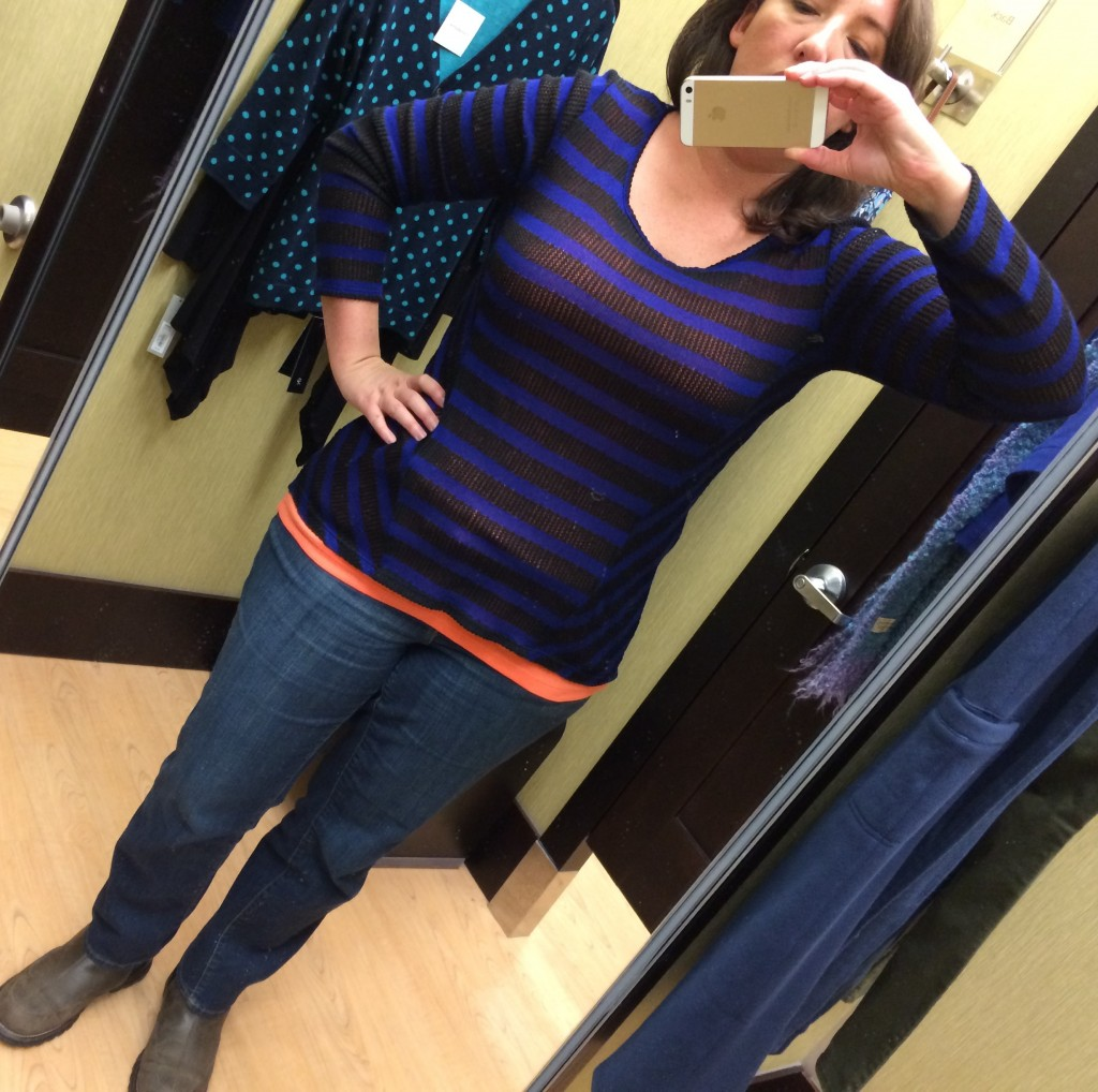 black and blue stripe shirt layered with orange