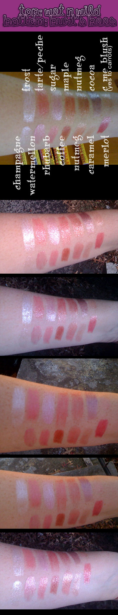 burts bees vs wet n wild lip shimmers swatches on my arm