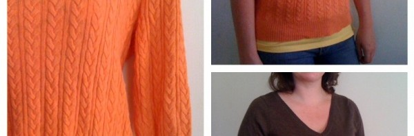 thrifted light sweaters orange and brown from goodwill