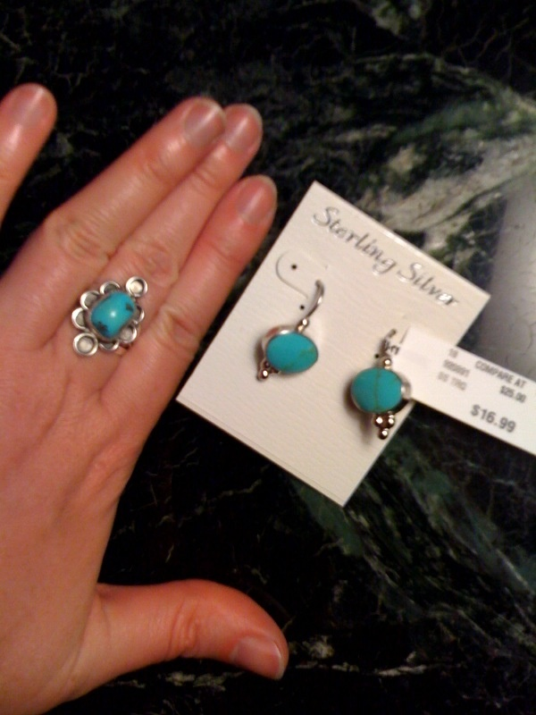 Turquoise earrings to match for Tj maxx jewelry box